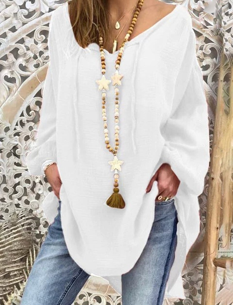 NEW Women Fashion Top Plus Size Loose Puff  Long Sleeves Blouse V-neck Casual T-shirt