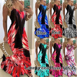 XS-8XL New Women's Fashion Summer Deep V-Neck Sleeveless Sling Dress Colorful Floral Printing Long Dress Slim Fit Big Swing Long Party Dresses Casual Holiday Beach Skirt Boho Dress Evening Dress Ladies Fashion Plus Size Spaghetti Strap Maxi Dress