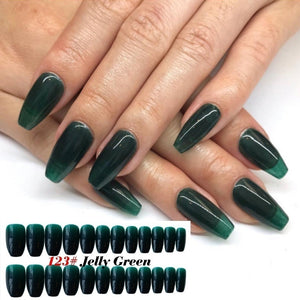 24Pcs/Set Classic Extra Long Coffin Nails Removable Wearing Ballet Jelly Long Nail Dark False Nails Candy JELLY Nails