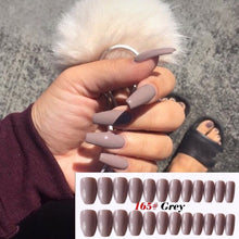 将图片加载到图库查看器,24Pcs/Set Classic Extra Long Coffin Nails Removable Wearing Ballet Jelly Long Nail Dark False Nails Candy JELLY Nails