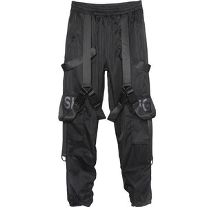 Overalls Men's Tide Brand Multi-pocket Dark Functional Pants Paratrooper Pants Hip-hop Weaving Loose Loose Pants Pants Street Tide Brand Hip-hop Sports Cargo Overalls