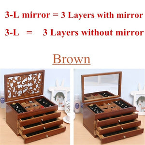 Retro 2/4/6 Layers Wooden Jewellery Box Cosmetic Case with/Without Mirror Women Birthday Gift