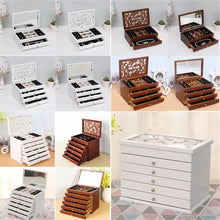 将图片加载到图库查看器,Retro 2/4/6 Layers Wooden Jewellery Box Cosmetic Case with/Without Mirror Women Birthday Gift