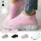 The Newest Ladies and Girls Large Size Flat Casual Shoes Sports Knit Breathable Shoes