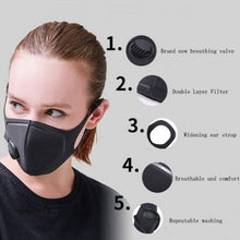 将图片加载到图库查看器,1/2/3/5pcs Unisex Mouth Mask Dustproof PM 2.5 Activated Carbon Reusable Respirator with Respirator Black