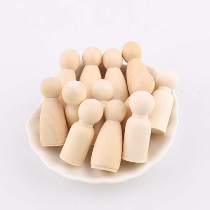 35mm-65mm Wooden Peg Dolls Crafts Kids DIY Unfinished Handmade Toys Home Nursery Wooden Unpainted Blank Women Men Peg Doll