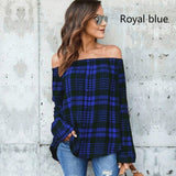 Women's Fashion Tops Plaid Shirt Long Sleeve Top Loose Top Single Breasted Shirt Single Shoulder Top