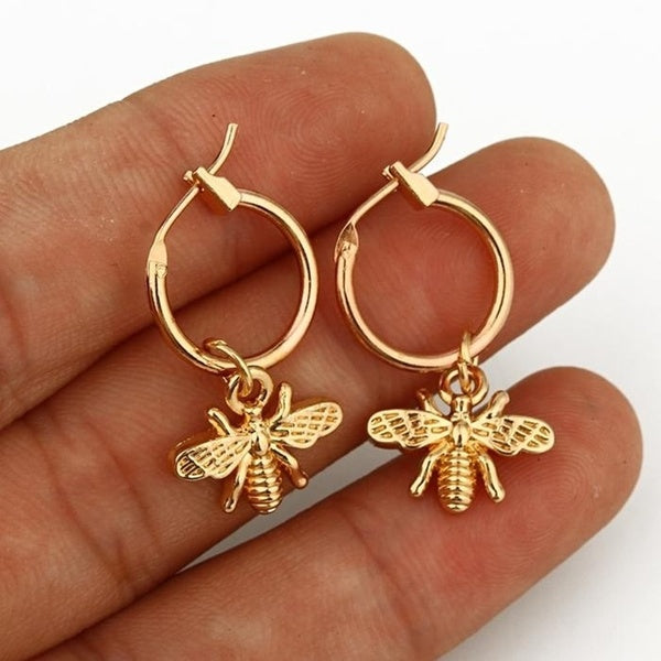 925 Anti Allergy Silver Needle Bumble Bee Lady Earrings Jewelry for Women