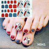 22tips Pre Designed Toenail Sticker Full Cover Waterproof Sticker Wraps Toe Nail Decoration DIY Nail Art Accessories