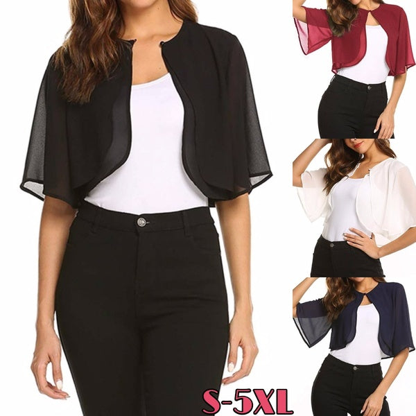 New Women's Fashion Short Sleeve Sheer Open Front Chiffon Shrug Cardigan Casual Bolero Jacket S-5XL