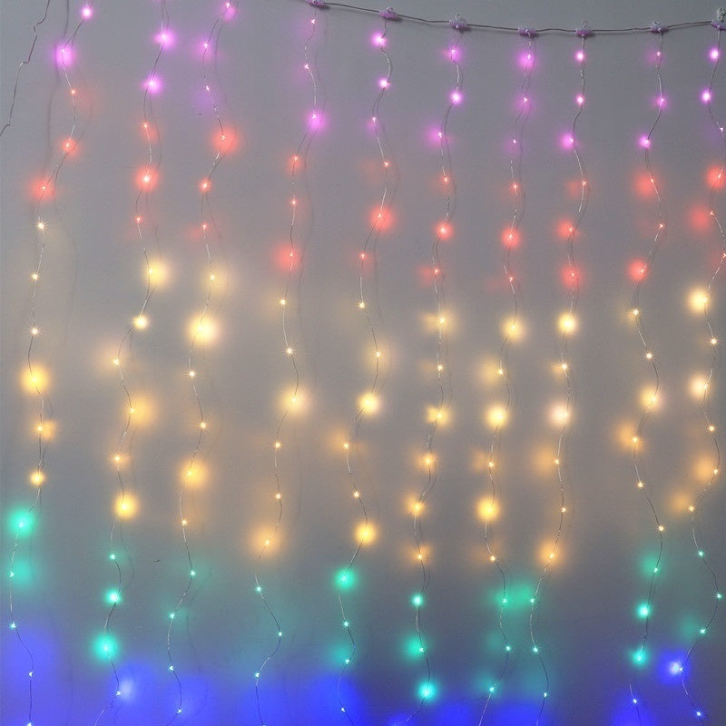 3x3m 300Led 3x2m 200Led 3x1m 100Led 1m 10Led8 Modes Rainbow Curtain Lights with Remote &Timer, USB Powered Twinkle LED Fairy Curtain Lights, Colorful Window Curtain String Lights for Bedroom Dorm Wall Unicorn Room Party D¨¦cor