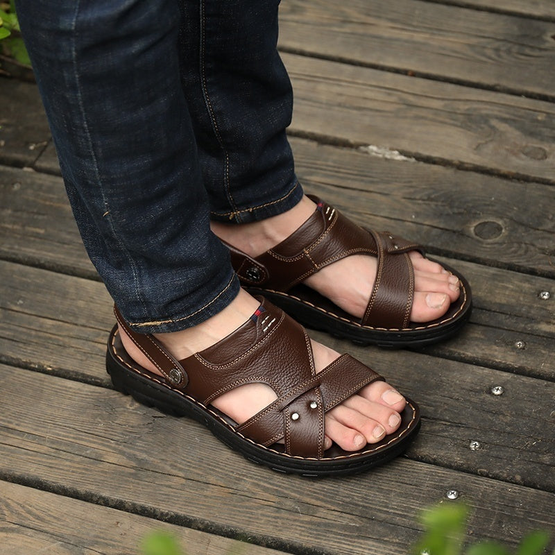 Mens Sandals Slippers Universal Black and Brown Men's Open Toe Outdoor Casual Sandals Summer Cool Beach Sandals