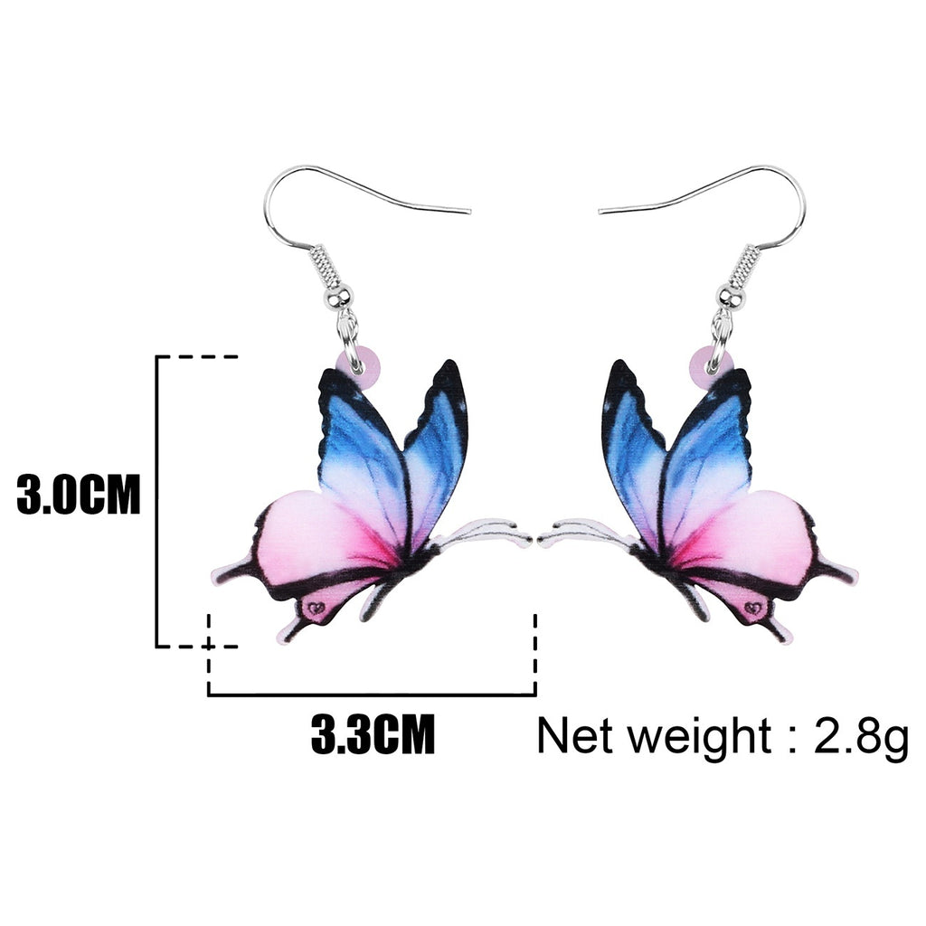 Acrylic Flying Tabby Butterfly Earrings Drop Dangle Jewelry Beautiful Insect Decoration Pendants Accessories For Women Girls Teens Trendy Ornaments Charm Gifts