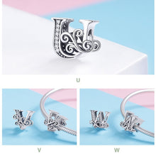 Load image into Gallery viewer, 925 Sterling Silver Letter / Alphabet Charm European Charms Silver Beads For Pandora Snake Chain Bracelet DIY Fashion Jewelry Accessory