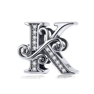 925 Sterling Silver Letter / Alphabet Charm European Charms Silver Beads For Pandora Snake Chain Bracelet DIY Fashion Jewelry Accessory