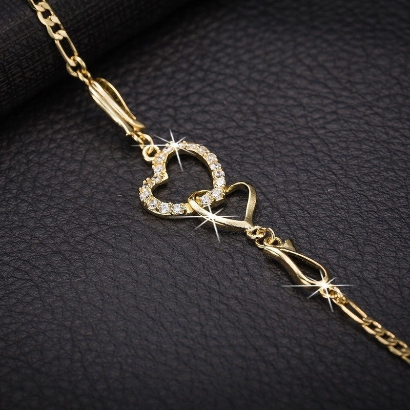 Women's Fashion Love Wedding Heart Shape Heart Link Heart Crystal Chain Bracelet Bangle 18K Yellow Gold Filled Jewelry
