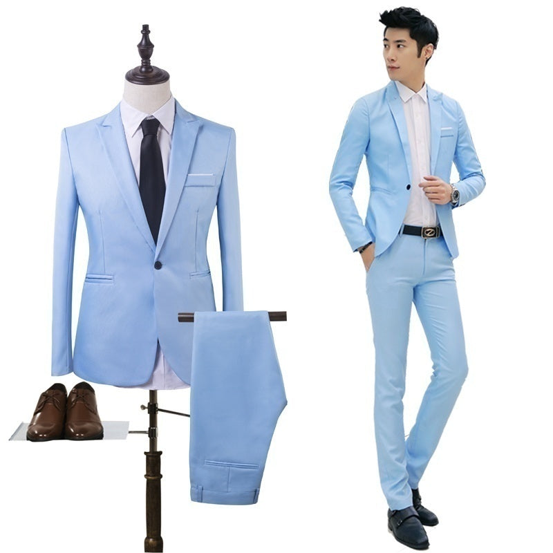 Mens Business Casual Suit Two-piece Suit Long Sleeve Fashion Blazer + Pant