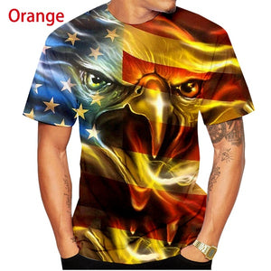 3D T-shirt American Flag Animal Eagle Personality Rock Hip Hop t shirt Summer Short Sleeve T Shirt Funny tops
