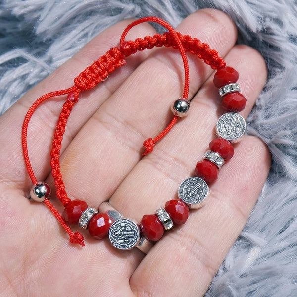 Saint Benedict Cord Bracelets for Women Evil Protection Medal Rosary Jewelry Catholic Gifts