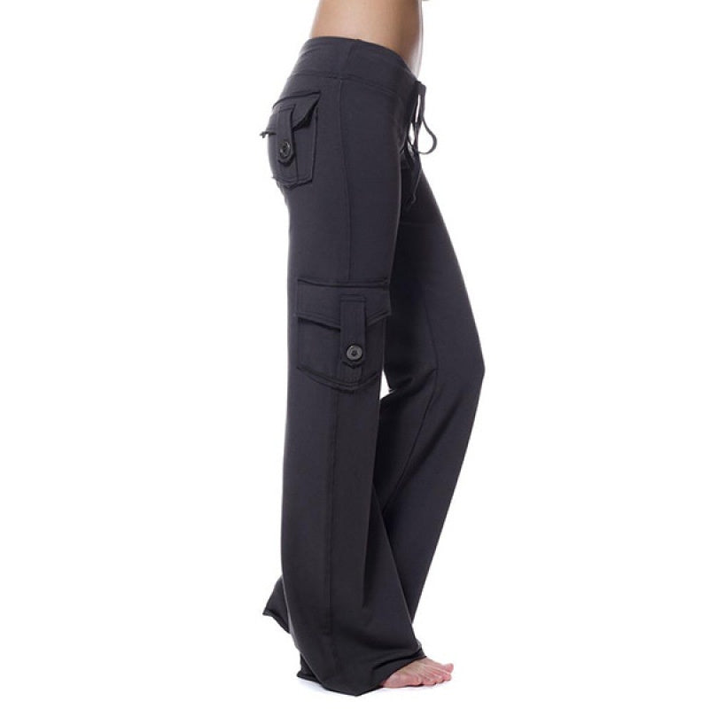 Womens Fashion Solid Color Cargo Pants Straight Women's Trousers with Pockets Casual Pants