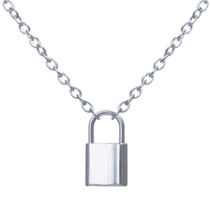 Stainless Steel Silver Color PadLock Pendant Necklaces Link Chain Lock Necklaces Collar  for Women Men