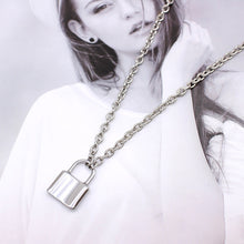 Load image into Gallery viewer, Stainless Steel Silver Color PadLock Pendant Necklaces Link Chain Lock Necklaces Collar  for Women Men