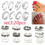 18/19/20PCS Vintage Toe Rings Set 14K Gold Plated Adjustable Toe Rings for Women Beach Jewelry Various Types Open Toe Ring