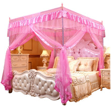 Load image into Gallery viewer, Black white pink gray purple coffee Four Corner Curtain Bed Canopy  Mosquito net For Twin Full Queen King Size(No Bed Canopy Frame)