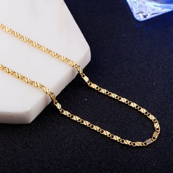 16-30 Inches Fashion Luxury Solid 18K Gold 925 Sterling Silver Women'S Chain Necklace Lady Bride Wedding Engagement Fine Jewelry Gift