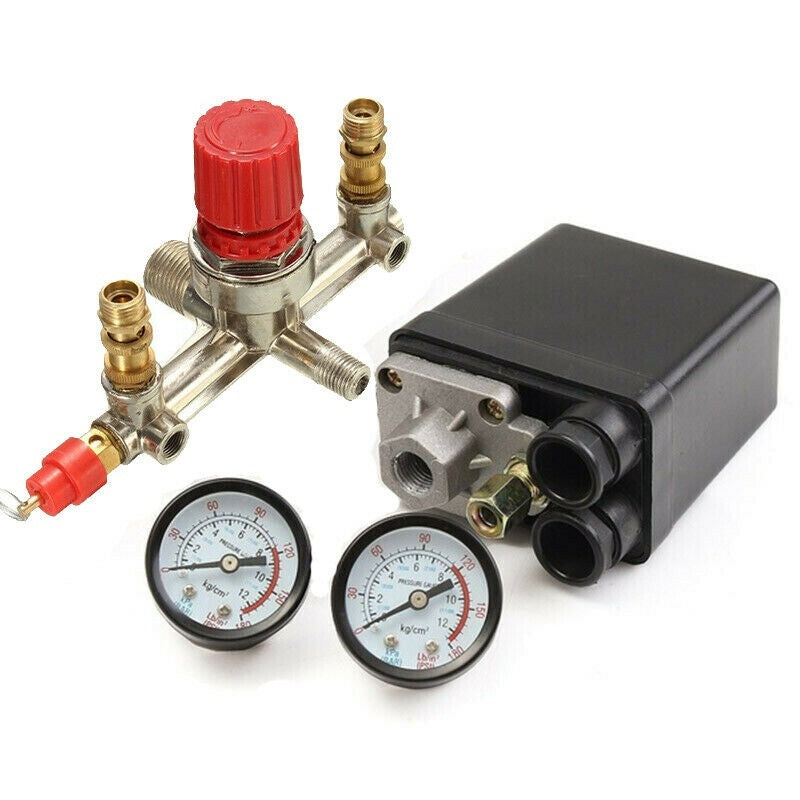 Pressure Meter Regulator Gauges Air Valve Compressor Control Switch 220V