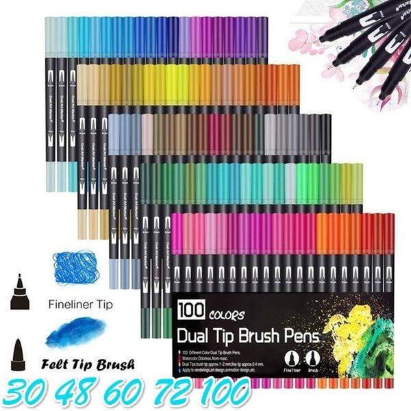 30/48/60/72/100 Dual Tip Calligraphy Brush Marker Pens,  Brush and Fine Tip Art Marker for Journal, Hand Lettering, Coloring Book, Planner_RO