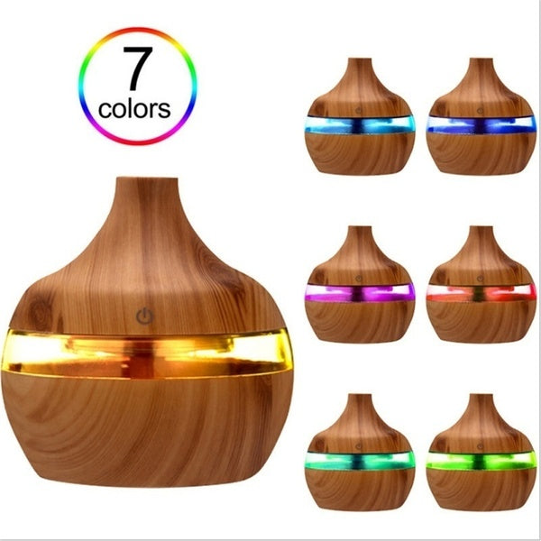 300ml Air Humidifier Led Aroma Essential Oil Diffuser Wood Grain Ultrasonic Humidifier Mini USB Atomizer Purifier Nightlight