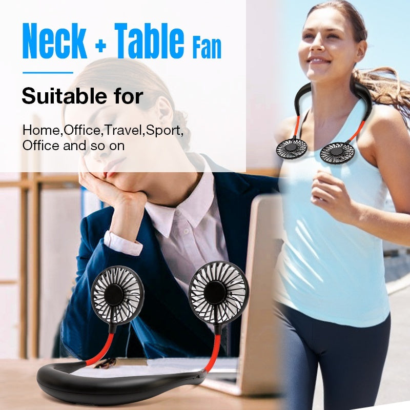7 Color LED Light Mini USB Portable Fan Neckband Fan With Rechargeable Battery Small Desk Fans Air Cooler Conditioner for For Traveling Outdoor Indoor