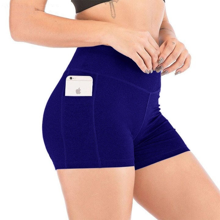 Summer Women's Fashion Solid Color High Waist Yoga Quick Dry Elastic Short Plus Size S-3XL