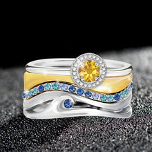Load image into Gallery viewer, 3pcs/set Newest Silver Gold Rings Yellow Stone Ring Sapphire Rings for Women Irregular Jewelry Band Birthday Gifts