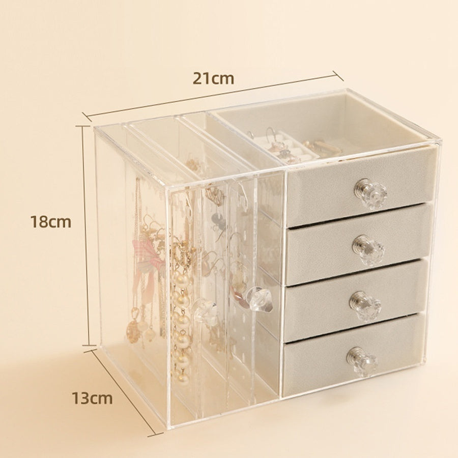 Acrylic Earring Display Shelf Household Female Dust-proof Jewelry Box Ring Ear Stud Necklace Jewelry Storage Box Gift for Girls