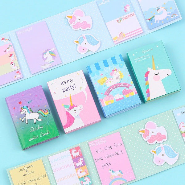 Lovely Cute Unicorn 6 Folding Memo Pad Sticky Notes Memo Notepad Bookmark Gift Stationery