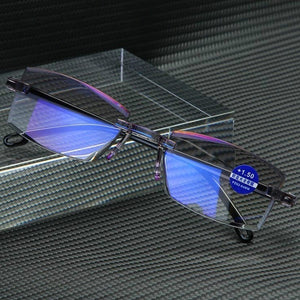 Rimless Diamond-cut Reading Glasses Anti-blue Light and Blue Film Integrated for Women Men Full Degree +1.0 +1.5 +2.0 +2.5 +3.0 +3.5 +4.0
