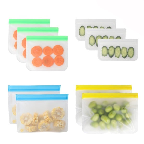 OURWARM PARTY Reusable Storage Bags Extra Thick Leakproof Silicone Plastic Free Ziplock Lunch Bags