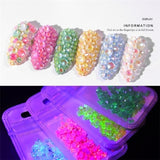 400pcs 1pack luminous crystal mixed size nail jewelry accessories glass gemstone 3D flash diamond dark glowing gemstone