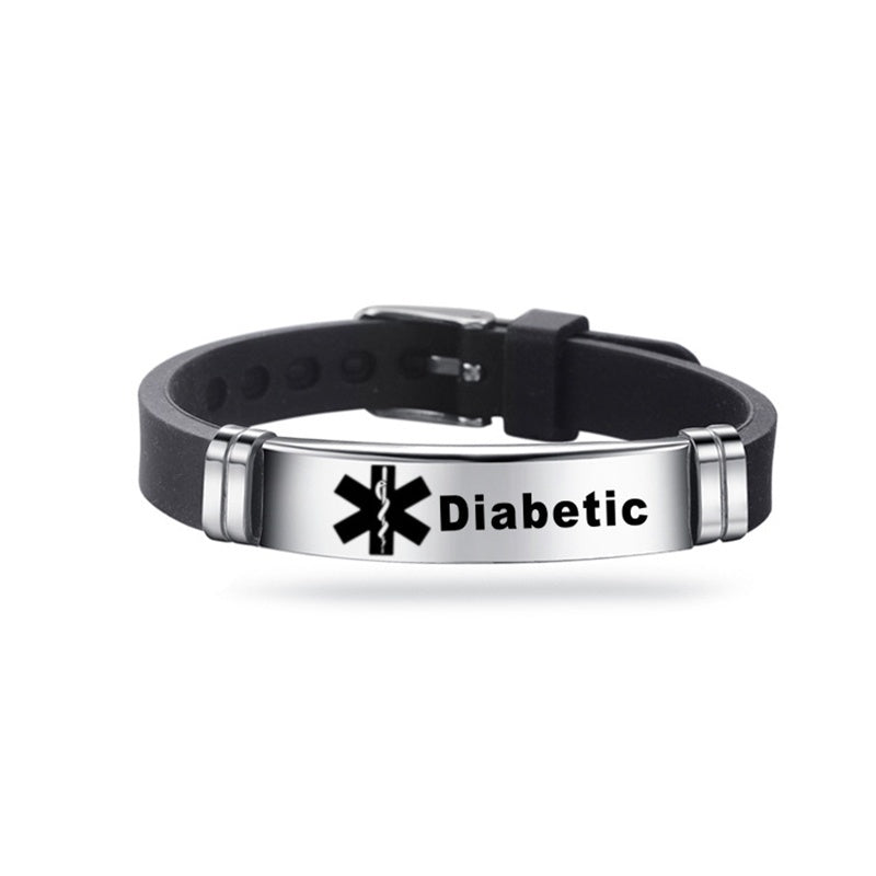 1 Piece Men's Stainless Steel Silicone Medical Alert Id Bracelets & Bangles Type 1/2 Diabetes Epilepsy Alzheimer'S Emergency Jewelry