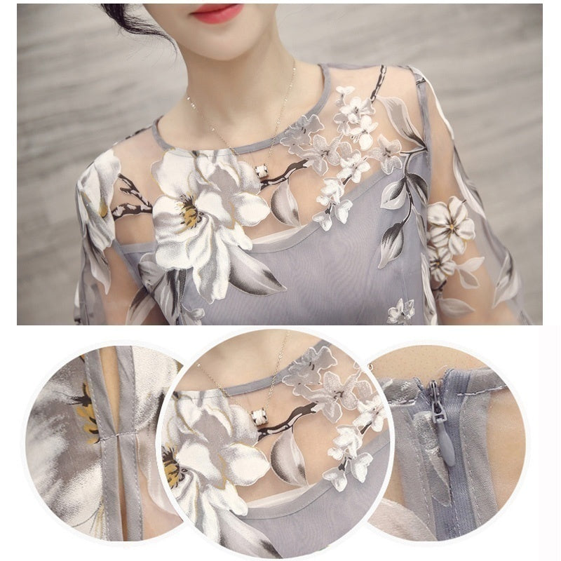 2020 Women Fashion O-neck Lace Double Layer Flower Prom Party Beach Dress Gray Yellow White High Quality Casual Dresses
