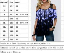 将图片加载到图库查看器,Summer Women Fashion Cold Shoulder T Shirt Printed Short Sleeve Lace Splicing Tops Casual Florals Printing Shirts Loose Plus Size Blouses XS-5XL