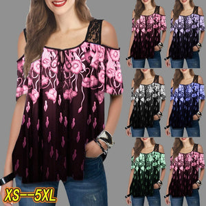 Summer Women Fashion Cold Shoulder T Shirt Printed Short Sleeve Lace Splicing Tops Casual Florals Printing Shirts Loose Plus Size Blouses XS-5XL