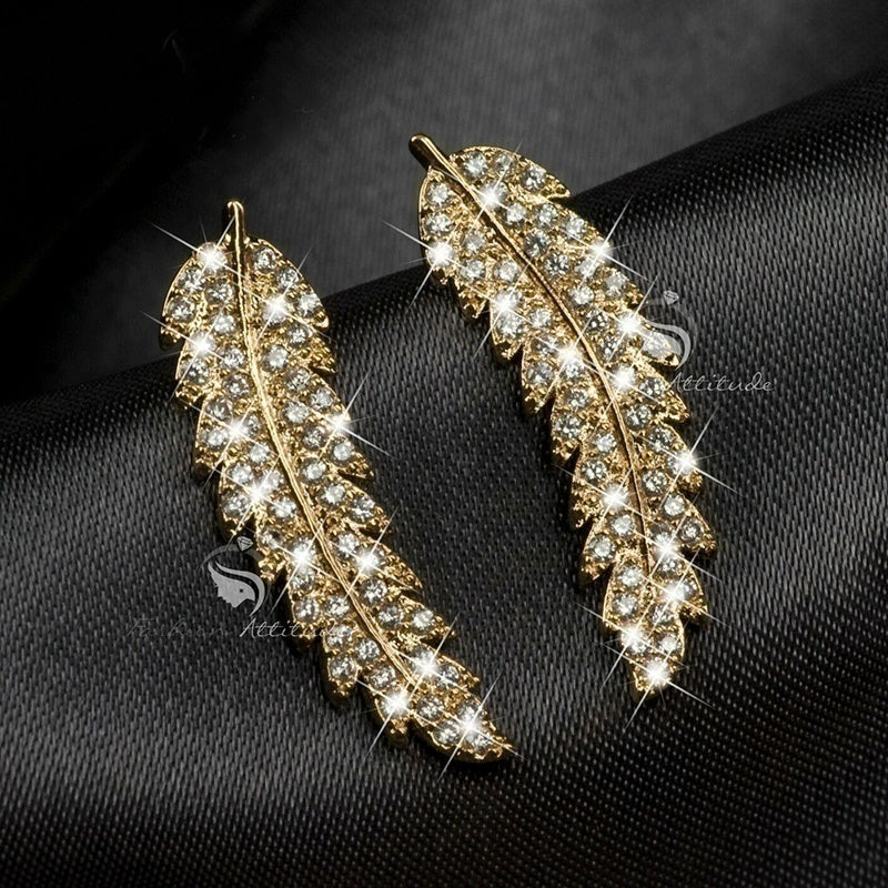 2020 New Gorgeous Feather Ear Climbers Cuff Earrings 925 Silver,18k Gold Crystal Diamond Leaves Cluster Wedding,Earrings for Women Gifts
