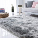 Long Hair Solid Carpet Living Room Deco Artificial Skin Rectangle Fluffy Mat Pad Anti-Slip Chair Sofa Cover Plain Area Rugs