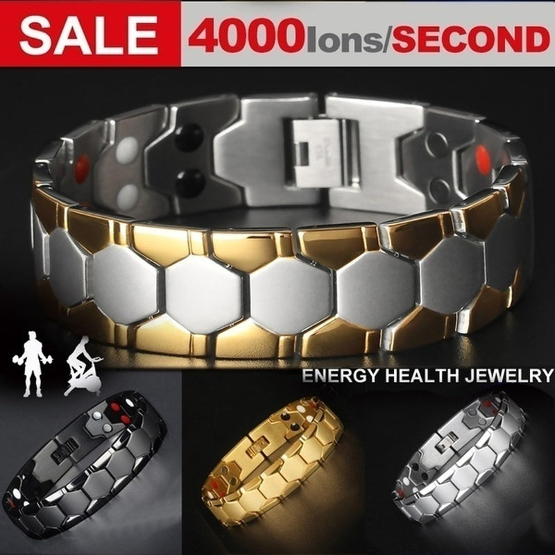 Mens Energy Bracelet 4000 Gauss Titanium Magnetic Health 4 In 1 Bracelet Bio Therapy Fashion Stainless Steel Bracelet Pulsera De Energ¨ªa