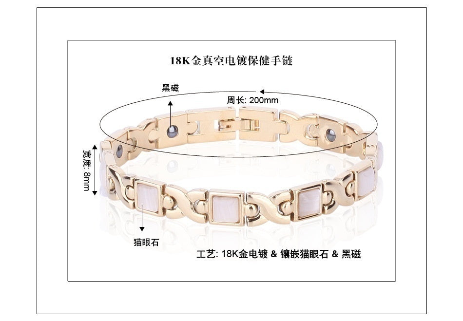 Women Fashion Natural Opal Cat's Eye Stone Gold Plated Magnetic Bracelet Health Care Weight Loss Anti-fatigue Jewelry