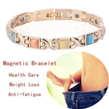 1PC Keep Slim Natural Opal Cat's Eye Stone Gold Plated Magnetic Bracelet Women Health Care Weight Loss Anti-fatigue Jewelry
