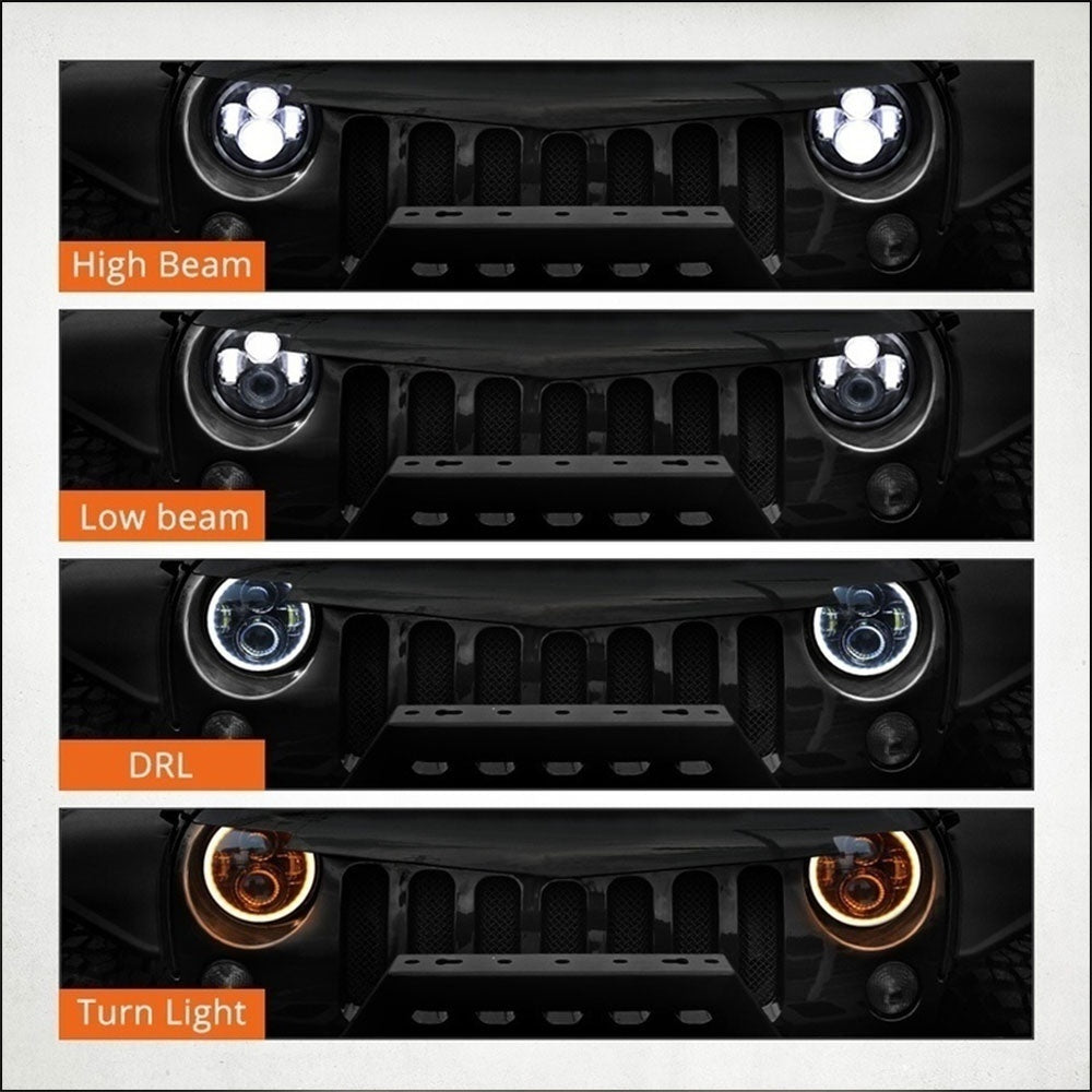 7inch Auto LED Headlight High Power 1PCS Hi/Lo Beam Super Bright Angel Eyes Light Bulbs JEEP JK TJ LJ Wrangler LED Headlight